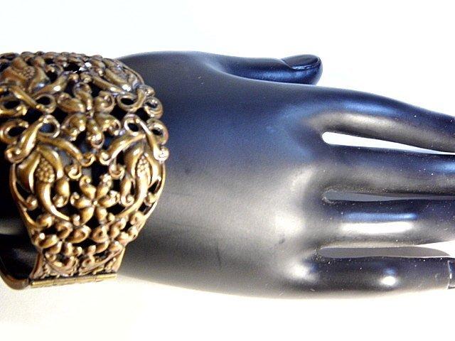 Vintage Ornate Wide Copper Cuff Bracelet - 6