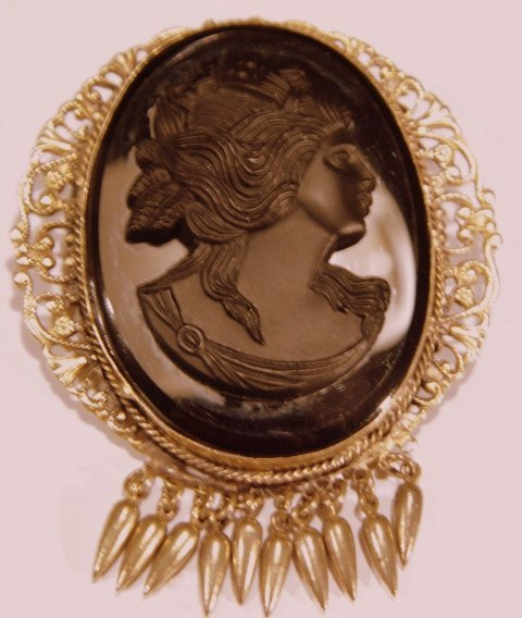 Large Victorian Revival Cameo Mourning Brooch