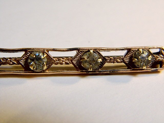 Antique English Victorian Rhinestone Bar Pin - 3