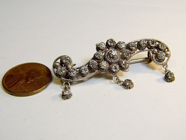 Antique Victorian Filligree & Rhinestone Pin - 2