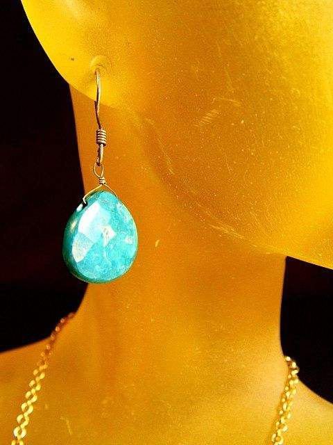 Pair Heart Shaped Cut Turquoise Drop Earrings