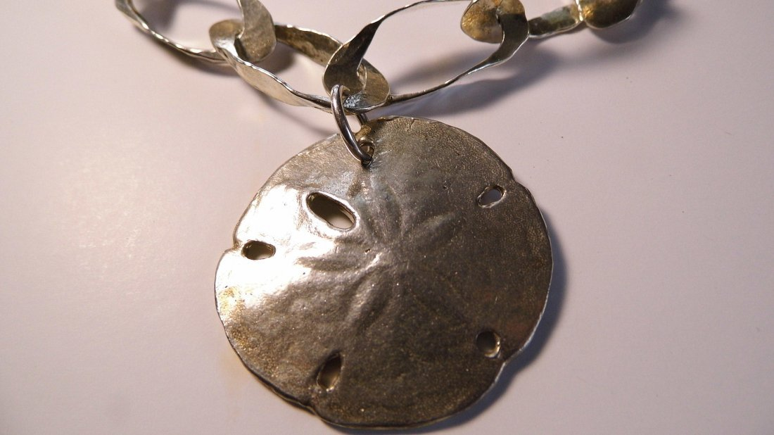 Sterling Silver Sand Dollar Necklace Beauty - 2