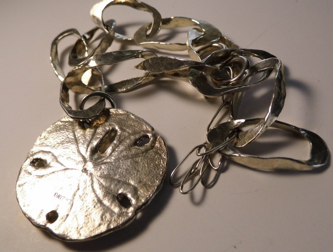 Sterling Silver Sand Dollar Necklace Beauty - 4