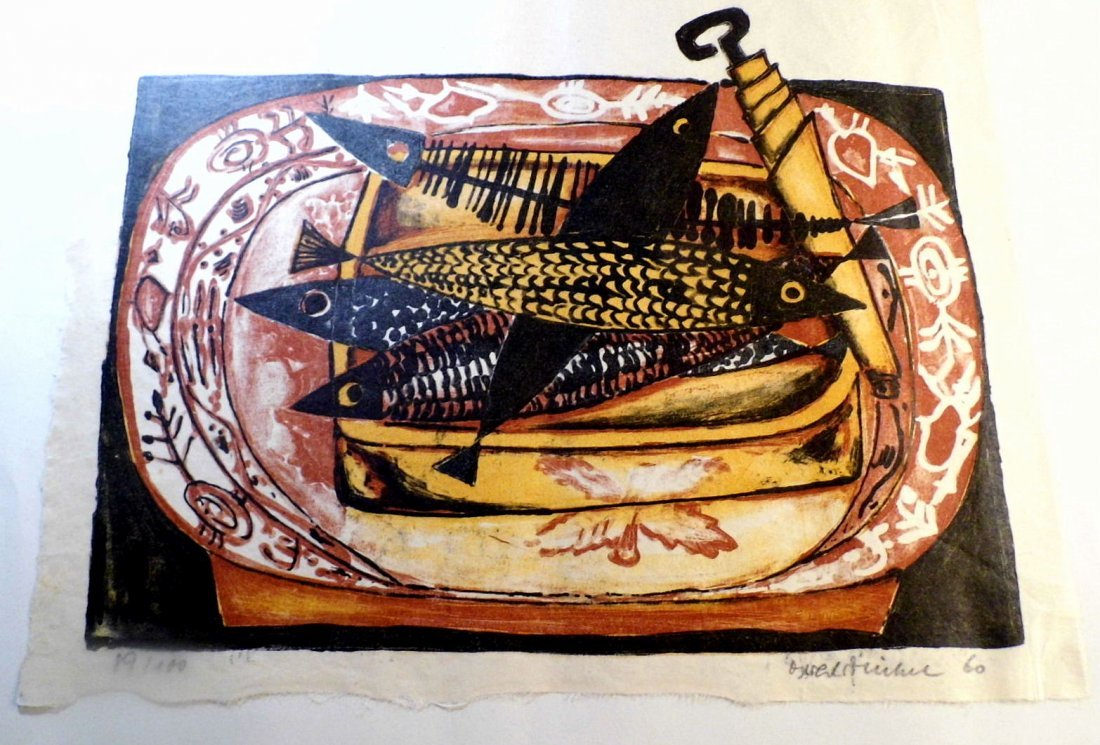 Illegible German Block Print Can of Sardines 1960
