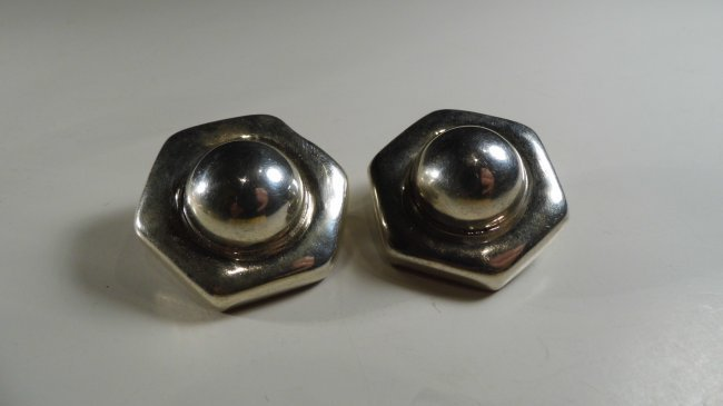 Modern Mexican Taxco Sterling Silver Earrings - 4