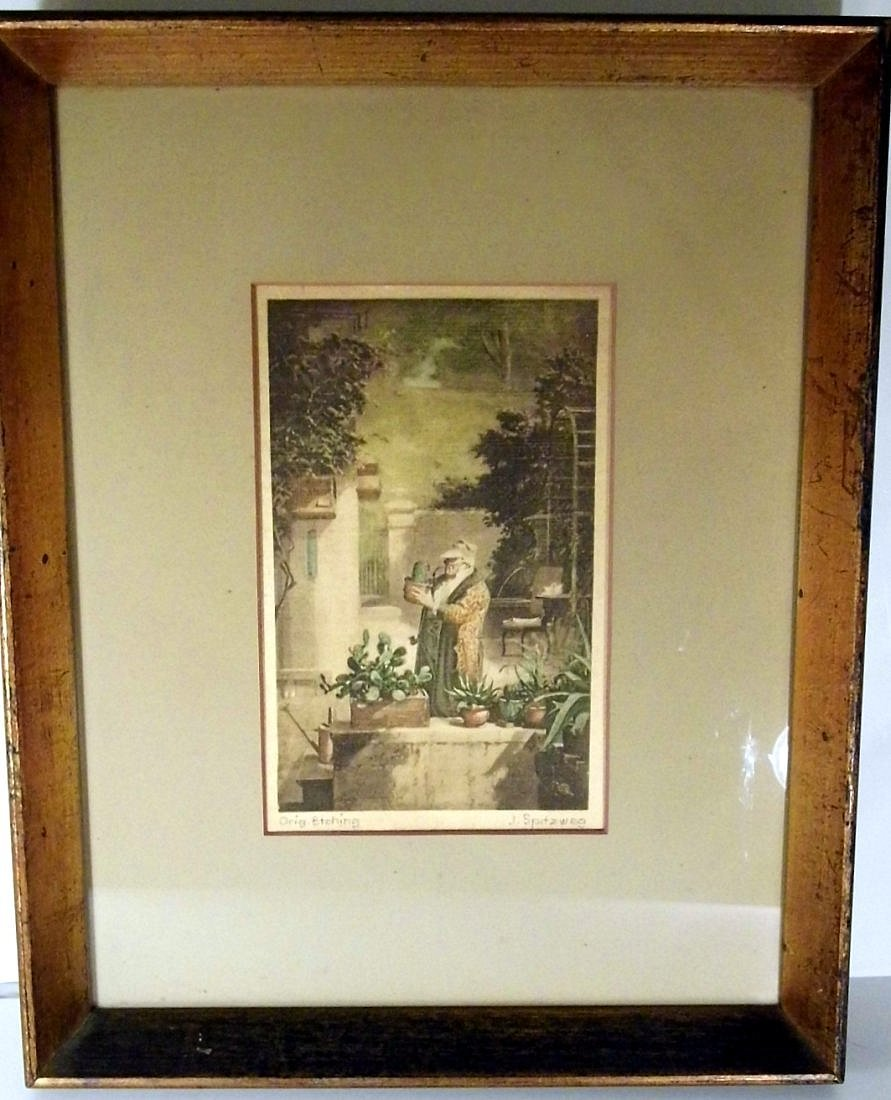 Biedermeier Carl Spitzweg 1808-85 Etching on Satin - 2
