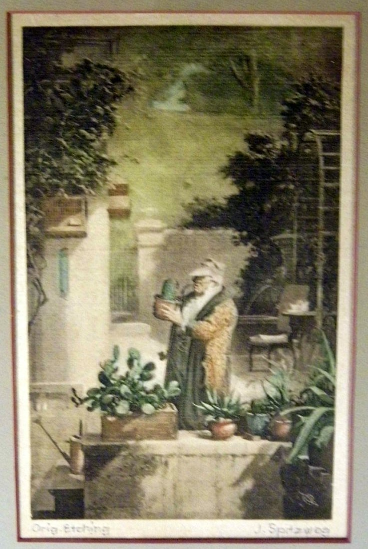 Biedermeier Carl Spitzweg 1808-85 Etching on Satin - 3