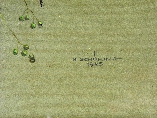 Signed H. Schoning German Watercolor Study Ladybug - 4