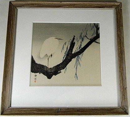 Okuhara Seiko 1837-1913 Woodblock Print Heron Kacho-e