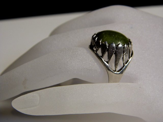 1805Antique Very Irish Dublin Sterling Silver Jade Ring