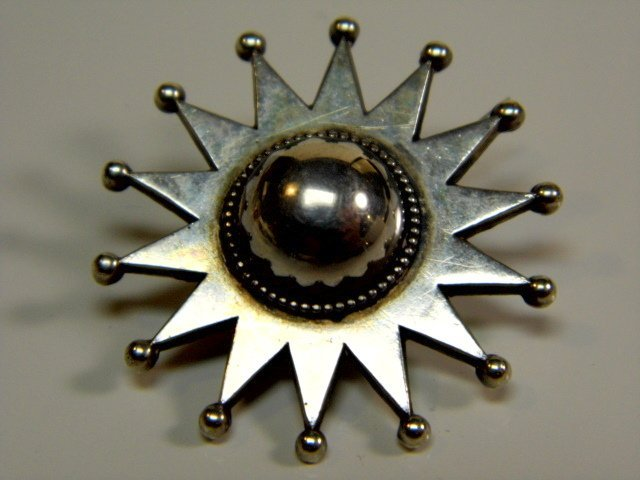 Fine Mysterious Antique Silver Star Brooch Pin