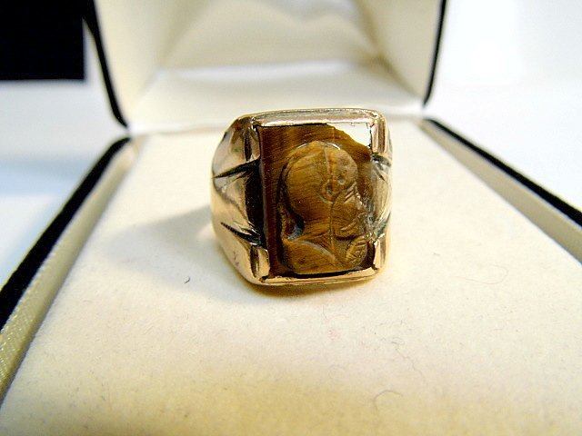 Antique Gold Plated Tiger Eye Ring size 10