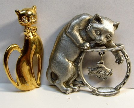 Pair of Jonette Jewelry 1937-2006 Costume Brooches Cats