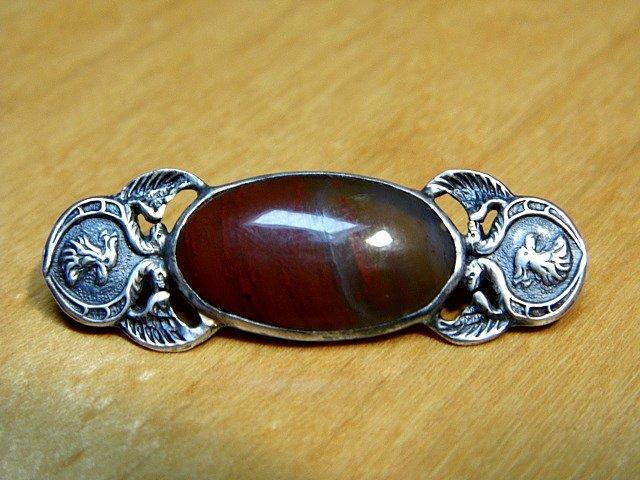 Antique Scottish Cockerel Cabochon Brooch