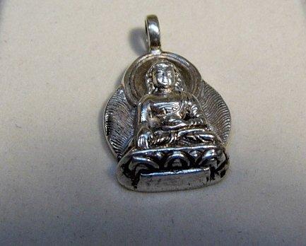 Asian Sterling Silver Bodhisattva Budda Pendant / Charm