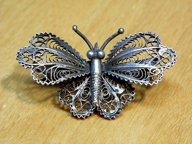 Eastern European Filigree Silver Butterfly Pin