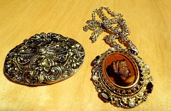Large Vintage Brooch & Cameo Necklace West Germany