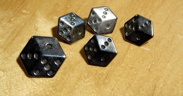 5 Vintage Silver Buttons 'Dice'