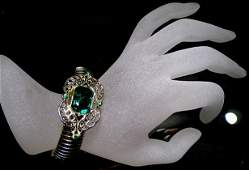Period Art Deco Big Emerald Paste Stone Bracelet