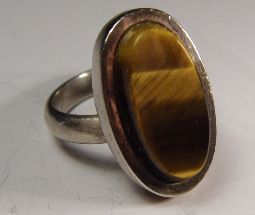 Mexican Sterling Silver Tiger's Eye Modern Ring