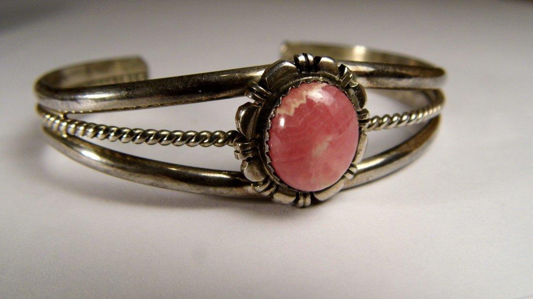 Navajo Sterling Silver Pink Flourite Bracelet Etsitty