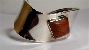 Modern Mexican Sterling Silver Jasper Cuff Bracelet