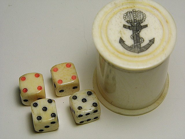 Vintage Whale Tooth Royal Anchor Scrimshaw Dice Cup