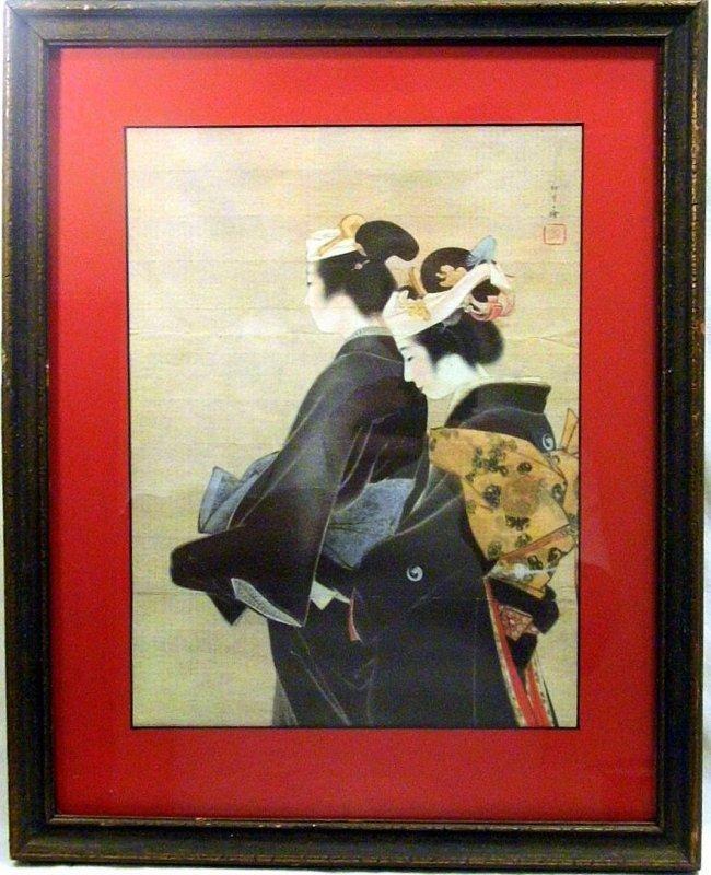 Decorative Japanese Print Geishas Mourning