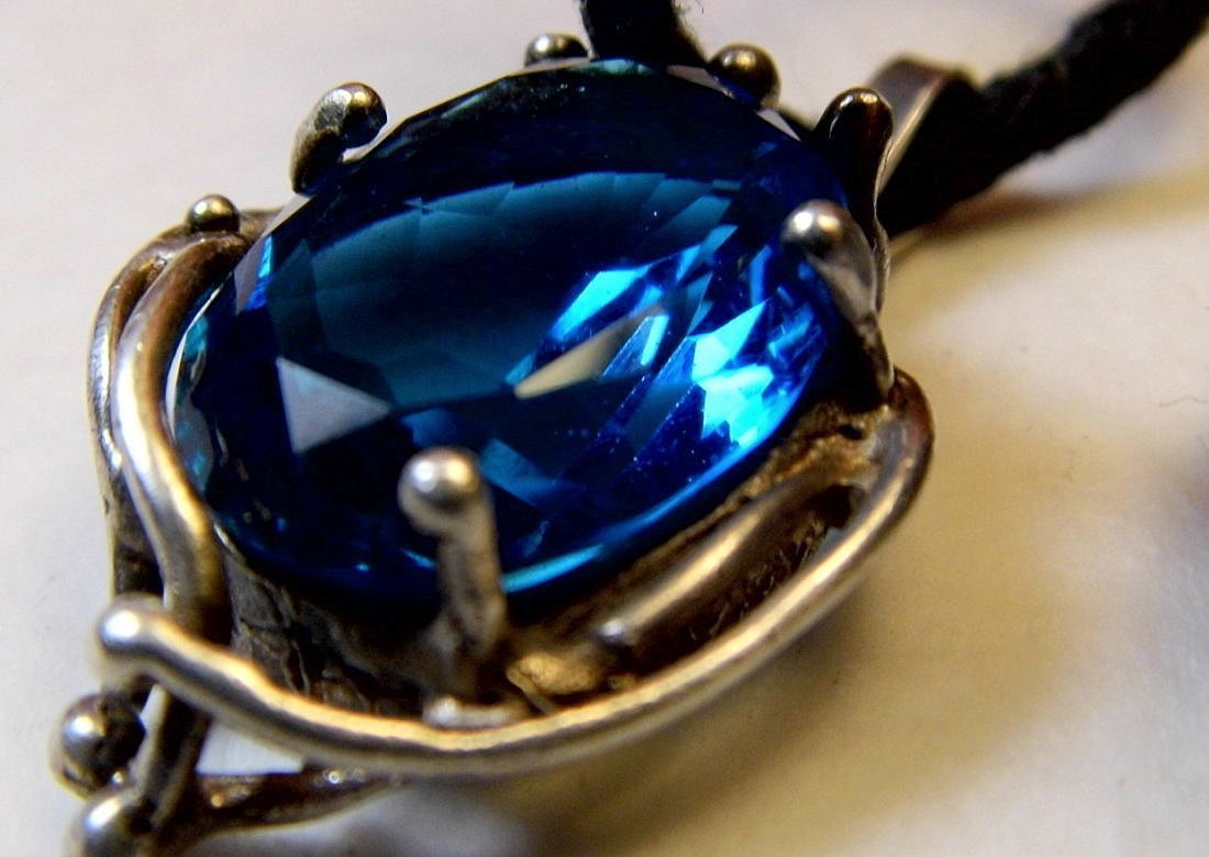 Azure Glass Wiccan Necklace Pendant Gothic