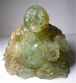 Rare Antique Flourite Carved Buddha Pearls & Orb