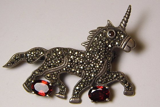 Vintage Sterling Silver Marcasite Garnet Brooch Unicorn