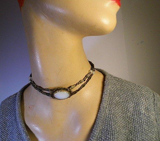 Vintage Gothic Moonstone Amulet Choker Necklace