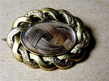 Victorian Mourning Hair Brooch Woven Auburn Color