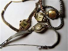 4 Vintage Gold Filled Watches 1 Gruen, 1 Bulova, 2 Benr