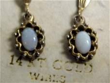 Vintage Opal Dangle Earrings 14 Kt Gold WIres