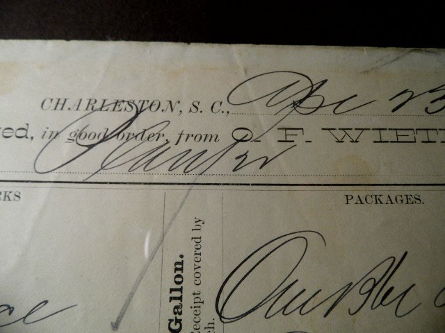 Charleston Ephemera 1884 Grocery Bill Wieters Store Ham - 3