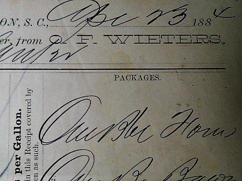 Charleston Ephemera 1884 Grocery Bill Wieters Store Ham - 4