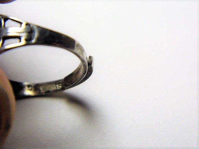 Fine Vintage Dinner Ring Jet Stone w/ Aquamarines - 4