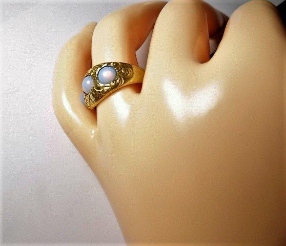 Vintage 14 Karat Opal Ring Vibrant Stones sz 7 - 3