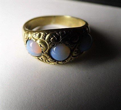 Vintage 14 Karat Opal Ring Vibrant Stones sz 7 - 6