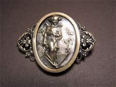 French Art Nouveau Silver Gilt Bronze Brooch Pixie