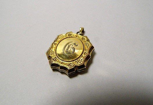 Fine Victorian Gold Fill Double Locket G monogram