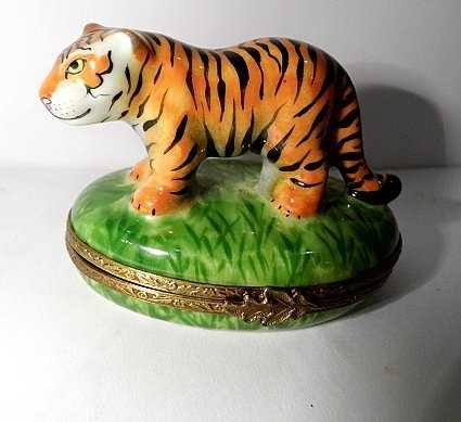 Signed French Limoges Vanity Box Tiger