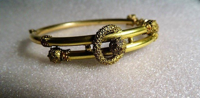 Victorian Era Etruscan Style Gold Plate Bracelet