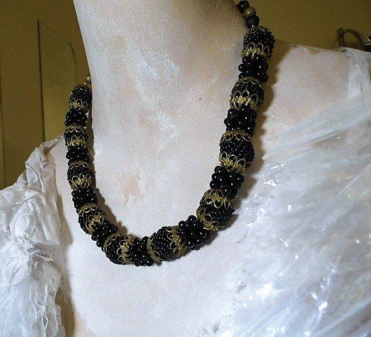 Antique Victorian Bead Necklace Blackberries