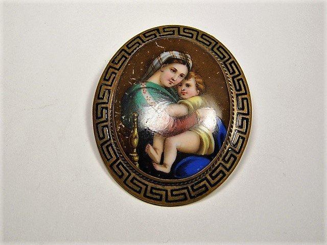 Antique French Porcelain Bronze Brooch Jacques Louis Da