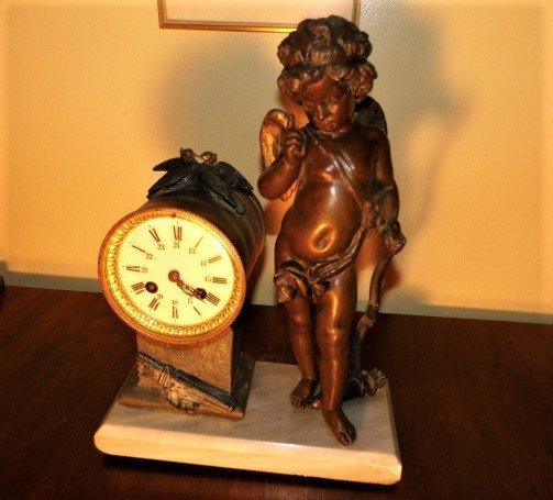 Antique French Clock Barrel Cupid Scolding Birds