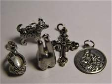 Lot of 5 Vintage Silver Pendants Charms Cross Papal