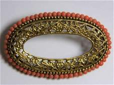 Antique Chinese Gold Coral Bead Brooch