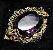 Antique Gorgeous Victorian Pale Amethyst Brooch